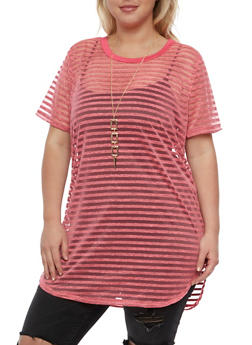 Plus Size Short Sleeve Shadow Stripe Tunic Top with Necklace - 0912058758506