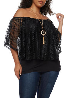 Plus Size Off the Shoulder Lace Overlay Top with Necklace - 0912058758543