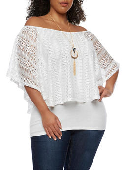 Plus Size Off the Shoulder Lace Overlay Top with Necklace - IVORY - 0912058758543