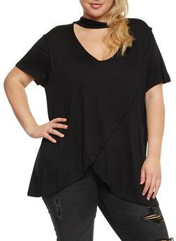 Plus Size Choker Neck Petal Hem T Shirt - 0912058758638
