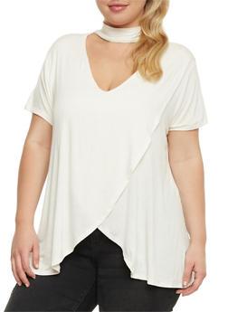 Plus Size Choker Neck Petal Hem T Shirt - IVORY - 0912058758638