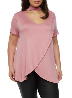 Plus Size Choker Neck Petal Hem T Shirt - 0912058758638
