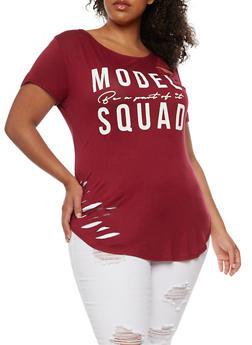 Plus Size Model Squad Graphic Lasercut Top - BURGUNDY - 0912058759112