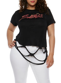 Plus Size Savage Graphic Top with Ripped Hem - 0912058759113