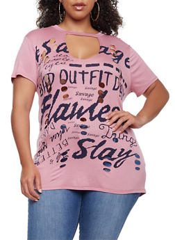 Plus Size Flawless Slay Graphic Lasercut Top - 0912058759114