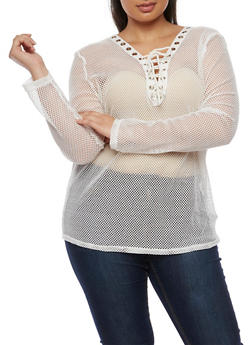 Plus Size Long Sleeve Plunging Lace Up V Neck Mesh Top - WHITE - 0912058930601