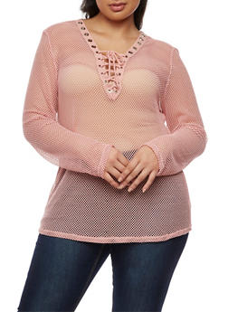 Plus Size Long Sleeve Plunging Lace Up V Neck Mesh Top - PEACH - 0912058930601