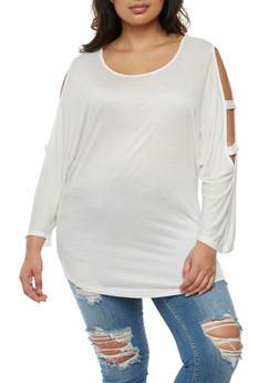 Plus Size Lattice Sleeve Top - WHITE - 0912058930602