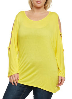 Plus Size Lattice Sleeve Top - 0912058930602