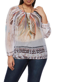 Plus Size Feather Print Mesh Top with Necklace - 0912058930712