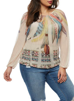 Plus Size Feather Print Mesh Top with Necklace - 0912058930912
