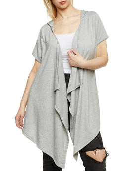Plus Size Slashed Asymmetrical Hooded Cardigan - 0912058930936