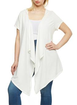Plus Size Slashed Asymmetrical Hooded Cardigan - IVORY - 0912058930936