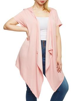 Plus Size Slashed Asymmetrical Hooded Cardigan - 0912058930936