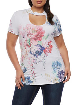 Plus Size Printed Top with Choker Keyhole - 0912058931070