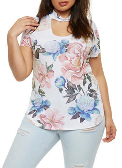 Plus Size Floral Short Sleeve Choker Top - 0912058932070