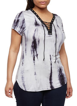 Plus Size Tie Dye Lace Up Top - NAVY - 0912058932136