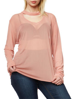 Plus Size Long Sleeve Mesh Top with Choker Neck - 0912058932736