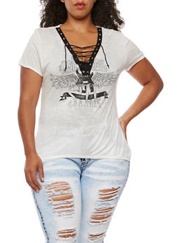 Plus Size Short Sleeve Graphic Lace Up Top - 0912058936460