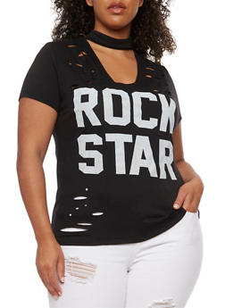 Plus Size Rockstar Graphic Lasercut Choker Top - 0912058936560