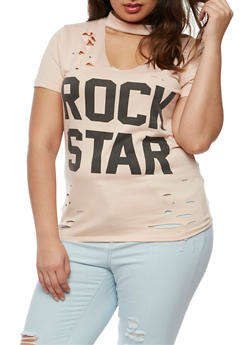 Plus Size Rockstar Graphic Lasercut Choker Top - 0912058936560