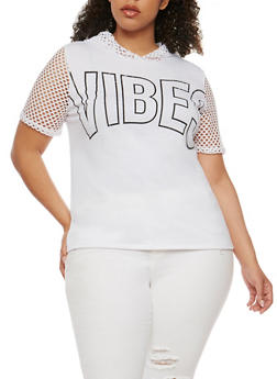 Plus Size Hooded Vibes Graphic Short Sleeve Top with Mesh Details - 0912058936860
