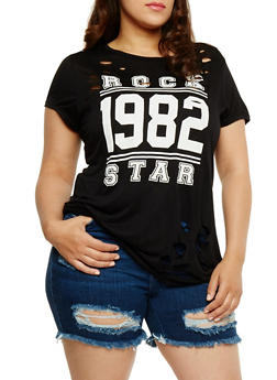 Plus Size Rock Star Graphic T Shirt with Laser Cut Detail - 0912058937122