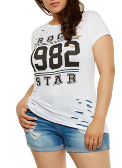 Plus Size Rock Star Graphic T Shirt with Laser Cut Detail - WHITE - 0912058937122