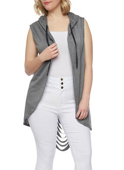 Plus Size Hooded Sleeveless Duster with Back Slits - 0912058937200