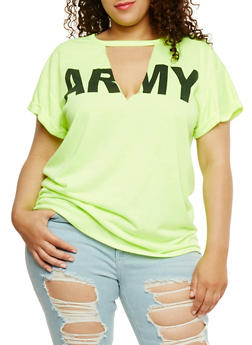 Plus Size Army Graphic Top with V Cutout - 0912058937460