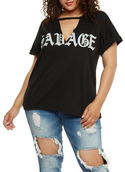 Plus Size Savage Graphic Choker T Shirt - BLACK - 0912058937560