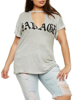Plus Size Savage Graphic Choker T Shirt - 0912058937560
