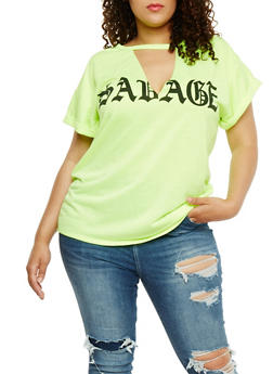 Plus Size Savage Graphic Choker T Shirt - 0912058937560