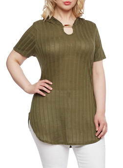 Plus Size Hooded Tunic Top with Bar Detail - 0912058939240