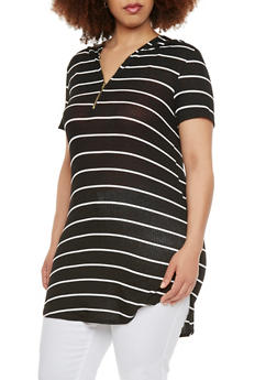 Plus Size Striped Hooded Tunic Top - 0912058939640