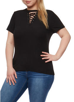 Plus Size Lace Up Rib Knit Top - BLACK - 0912060582758