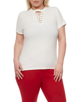 Plus Size Lace Up Rib Knit Top - WHITE - 0912060582758