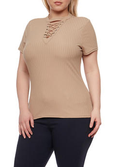 Plus Size Lace Up Rib Knit Top - 0912060582758
