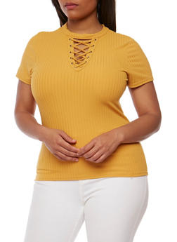 Plus Size Lace Up Rib Knit Top - GOLD - 0912060582758