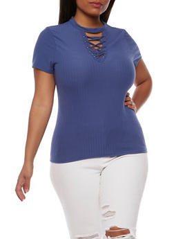 Plus Size Lace Up Rib Knit Top - BLUE - 0912060582758