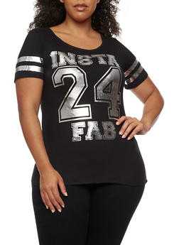 Plus Size Insta Fab Foil Graphic Top - 0912060588762
