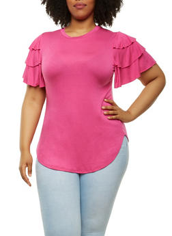 Plus Size Tiered Sleeve Top - 0912062128600