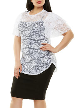 Plus Size Tiered Sleeve Lace Top - 0912062128700