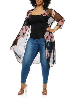 Plus Size Floral Mesh Kimono - 0912062709213