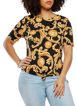 Plus Size Printed Tie Front Tee - 0912063408657