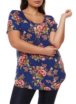Plus Size Floral T Shirt with Necklace - 0912072240517