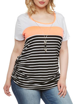 Plus Size Striped Top with Necklace - 0912072245518