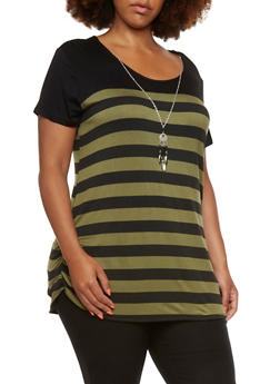 Plus Size Ruched Sides Striped Top with Removable Dream Catcher Necklace - 0912072245587
