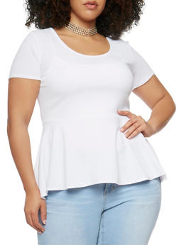 Plus Size Soft Knit Peplum Top with Choker Necklace - 0912072245719