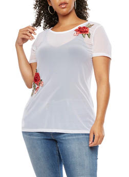 Plus Size Short Sleeve Mesh Top with Floral Applique - 0912072246132